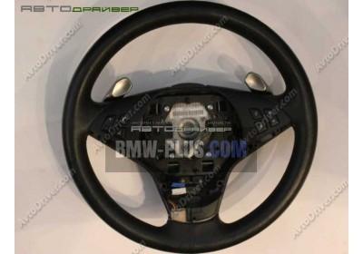 Спортивное рулевое колесо с НПБ кожа SMG BMW 5' E60 32346763387